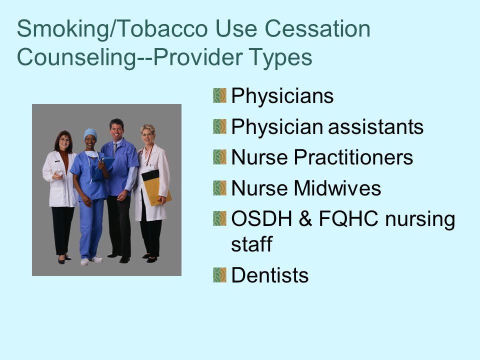 Smoking/Tobacco Use Cessation Counseling--Provider Types