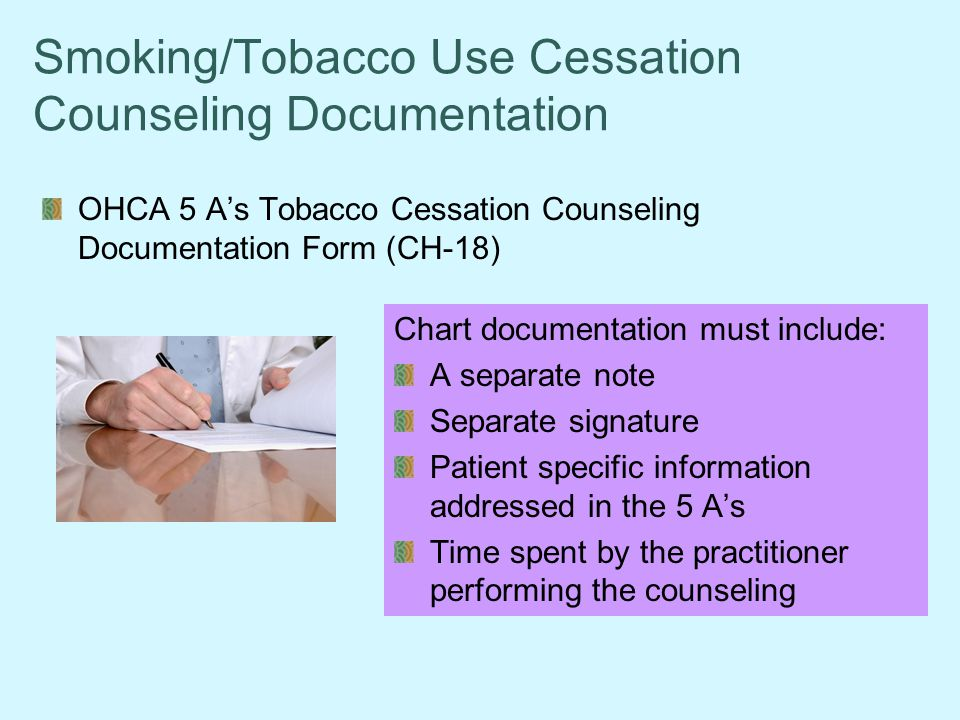 Smoking/Tobacco Use Cessation Counseling Documentation
