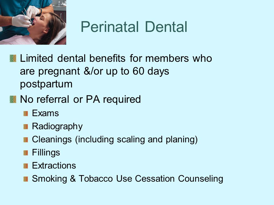 Perinatal Dental Limited dental benefits for members who are pregnant &/or up to 60 days postpartum.