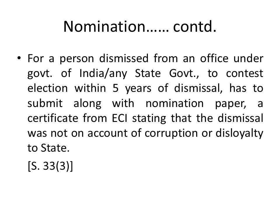 Nomination…… contd.