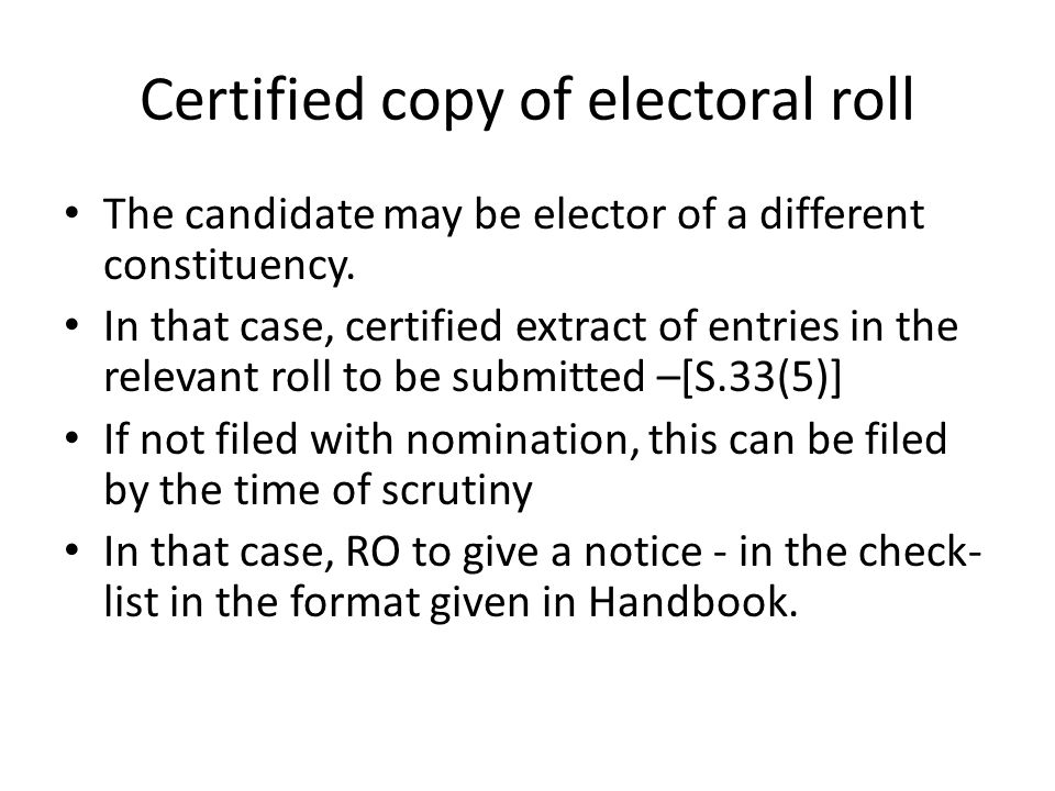 Certified copy of electoral roll