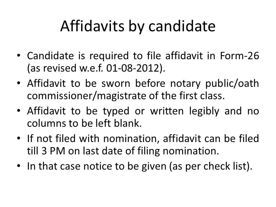 Affidavits by candidate
