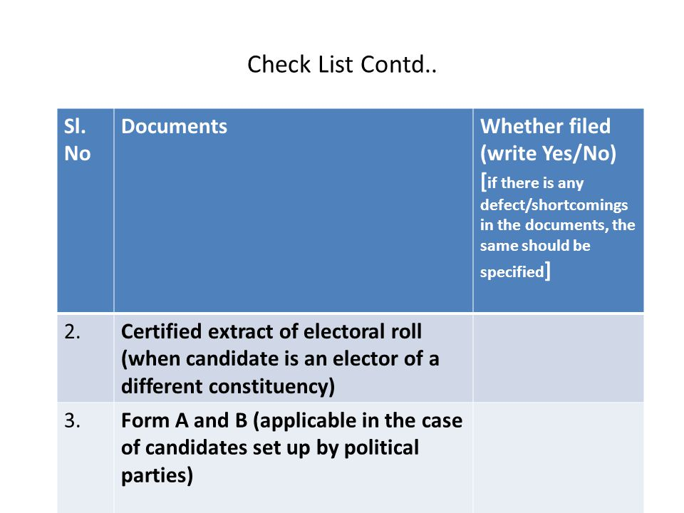 Check List Contd.. Sl. No Documents Whether filed (write Yes/No)