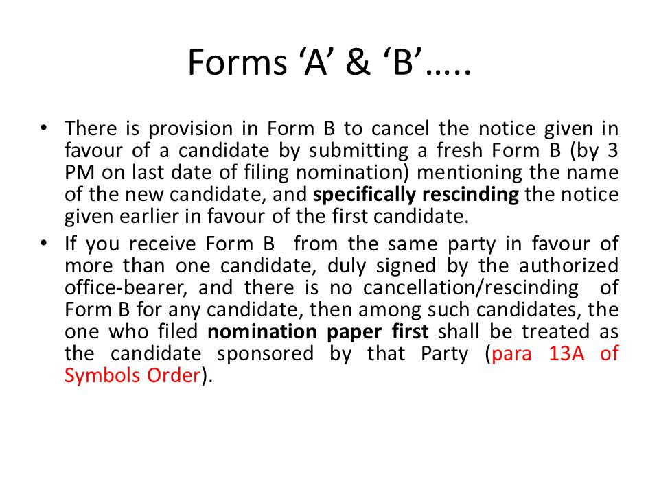 Forms 'A' & 'B'…..
