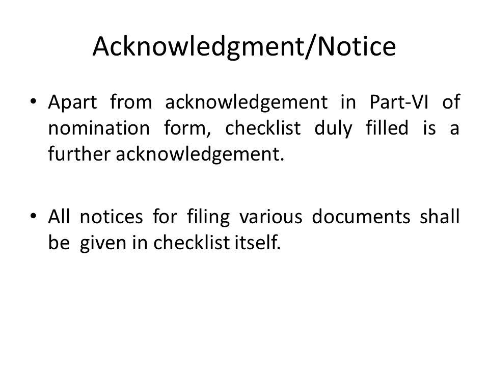 Acknowledgment/Notice