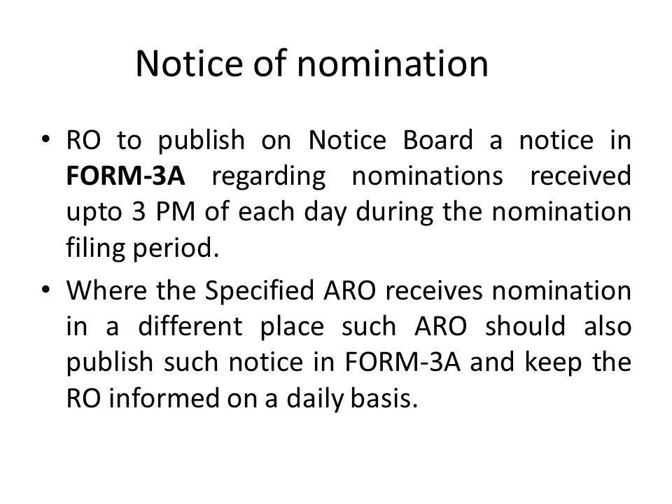 Notice of nomination