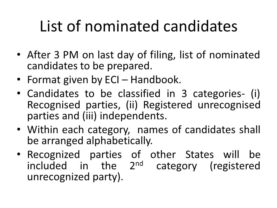 List of nominated candidates