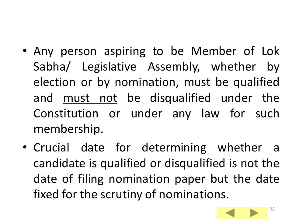 Any person aspiring to be Member of Lok Sabha/ Legislative Assembly, whether by election or by nomination, must be qualified and must not be disqualified under the Constitution or under any law for such membership.