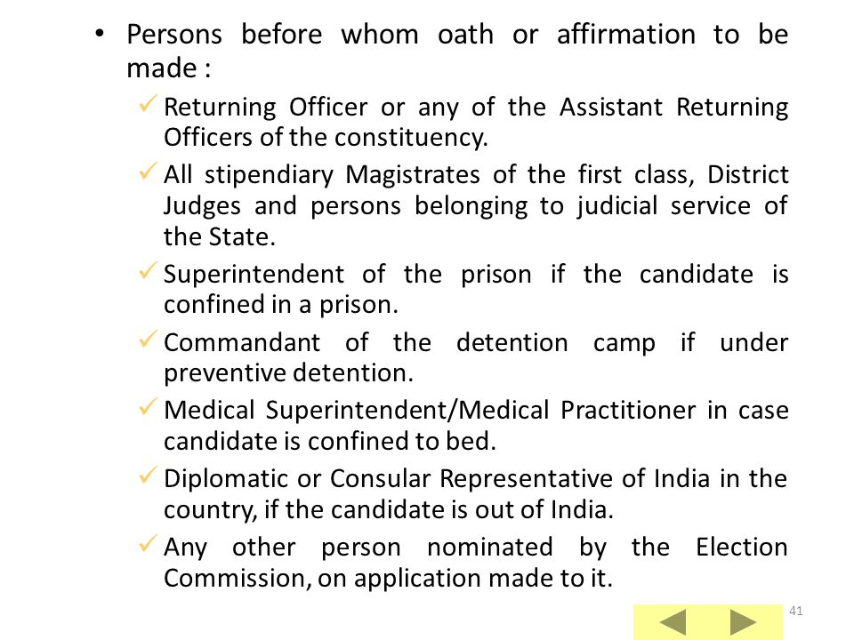 Persons before whom oath or affirmation to be made :