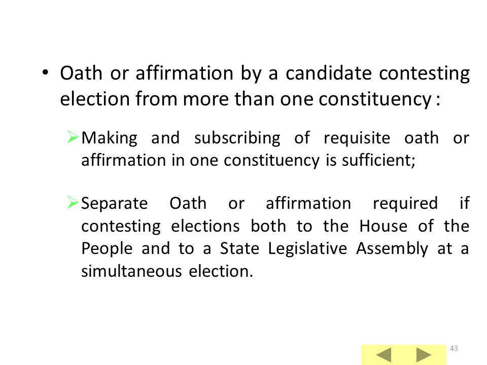 Oath or affirmation by a candidate contesting election from more than one constituency :