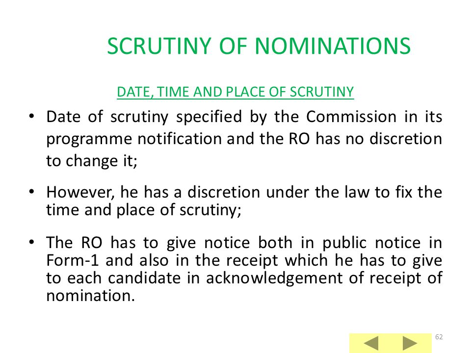 SCRUTINY OF NOMINATIONS