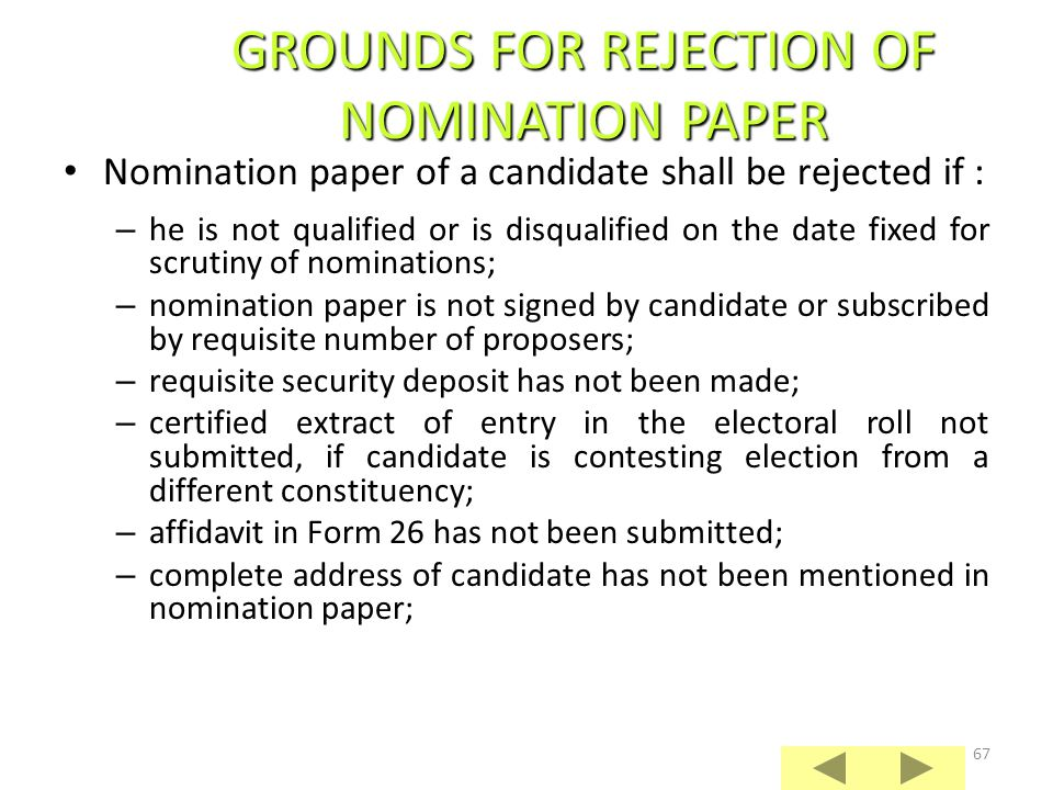 GROUNDS FOR REJECTION OF NOMINATION PAPER