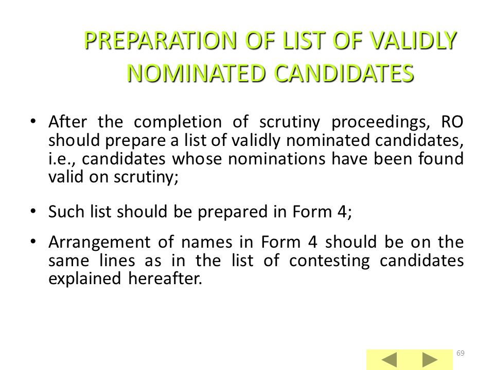 PREPARATION OF LIST OF VALIDLY NOMINATED CANDIDATES