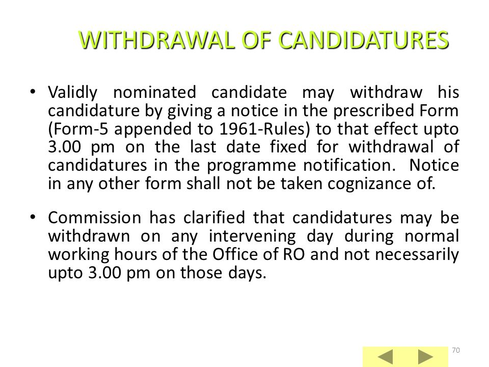 WITHDRAWAL OF CANDIDATURES