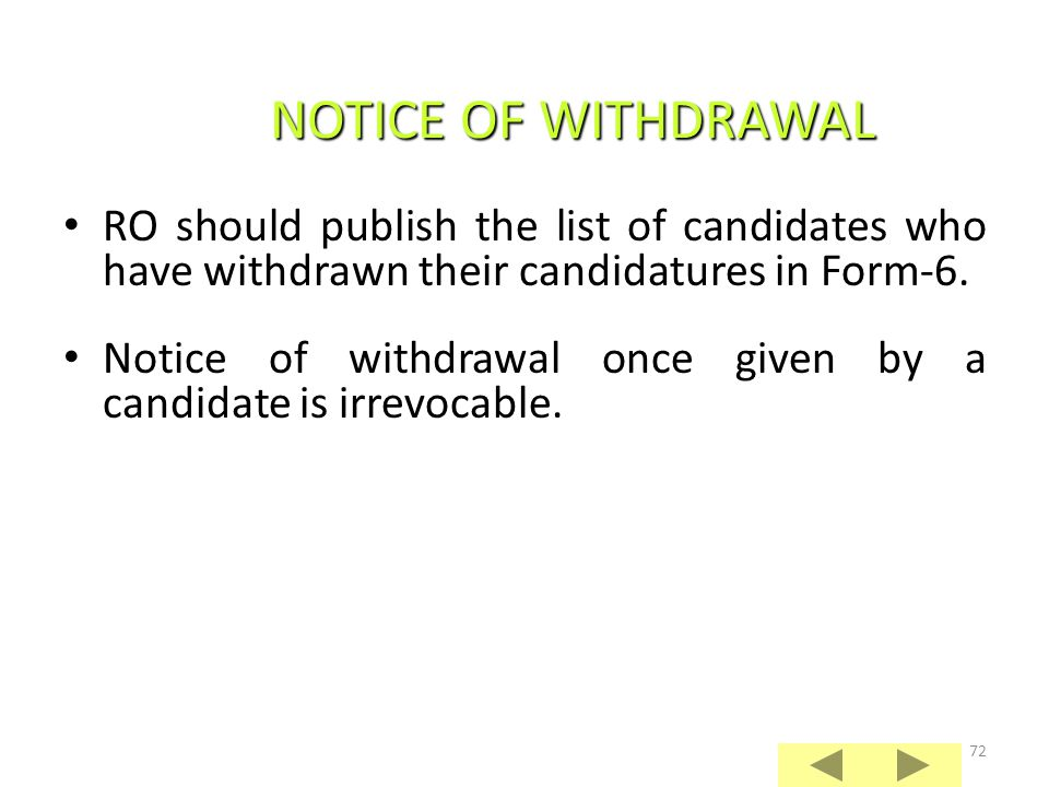 NOTICE OF WITHDRAWAL RO should publish the list of candidates who have withdrawn their candidatures in Form-6.