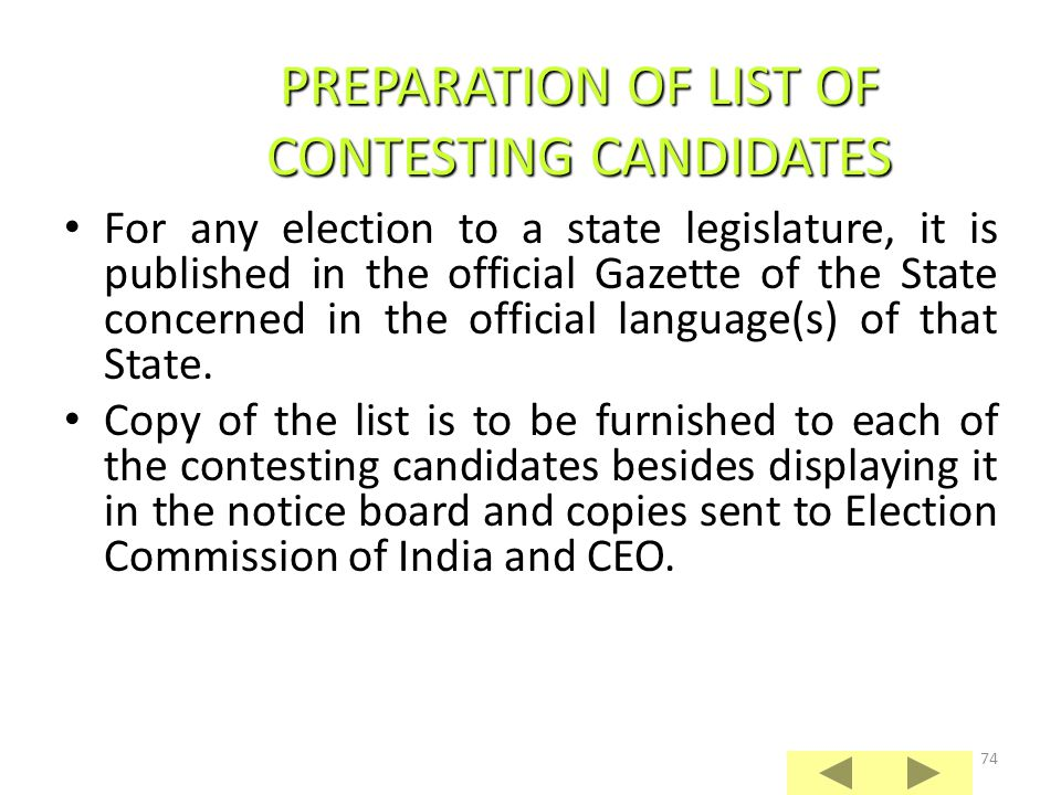 PREPARATION OF LIST OF CONTESTING CANDIDATES