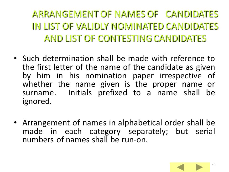 ARRANGEMENT OF NAMES OF CANDIDATES IN LIST OF VALIDLY NOMINATED CANDIDATES AND LIST OF CONTESTING CANDIDATES