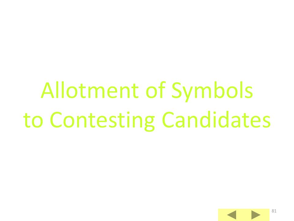 Allotment of Symbols to Contesting Candidates