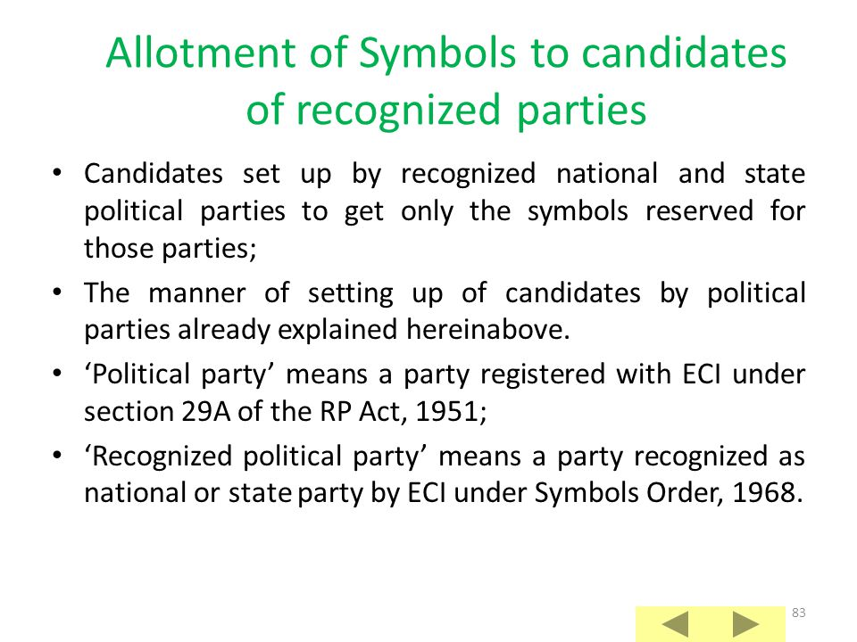 Allotment of Symbols to candidates of recognized parties