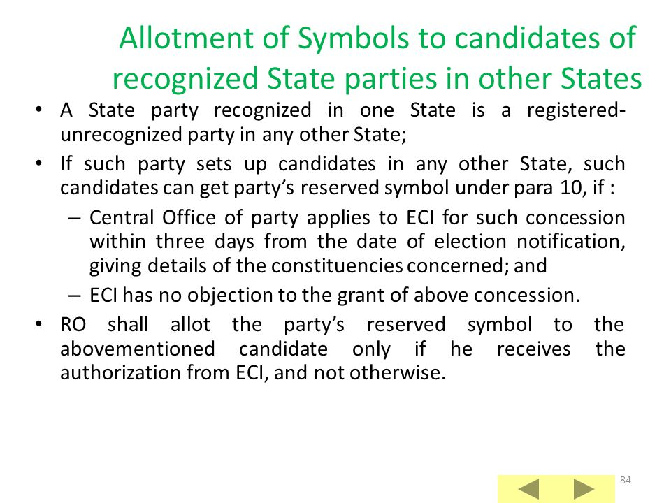 Allotment of Symbols to candidates of recognized State parties in other States