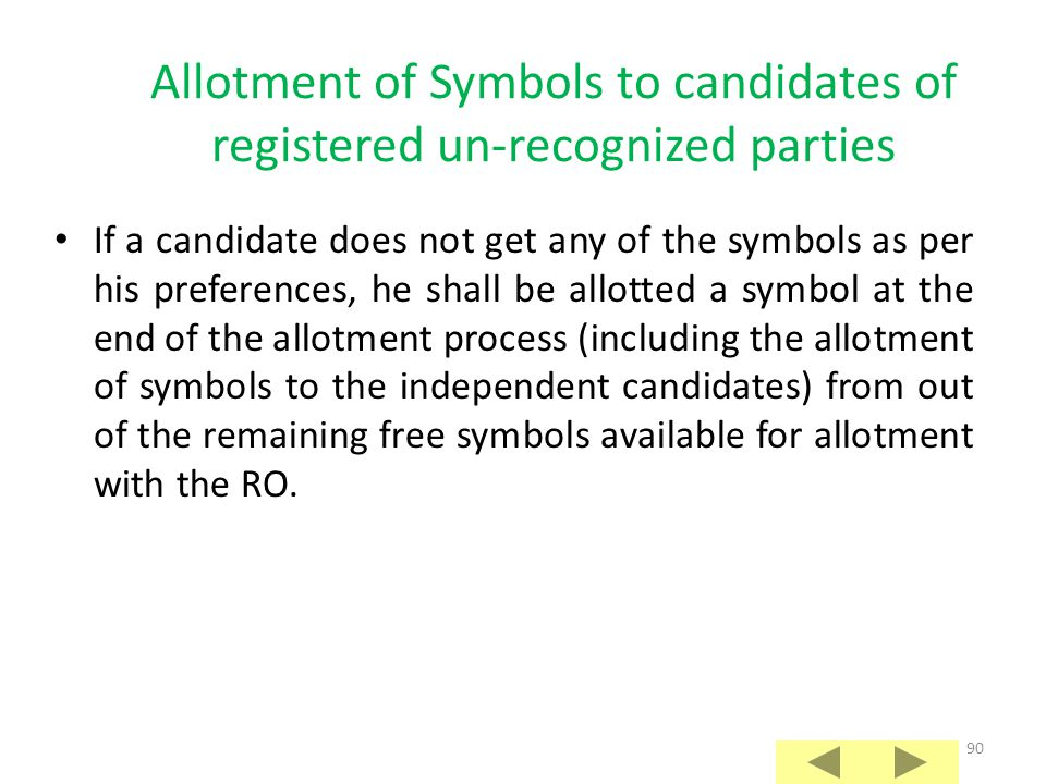 Allotment of Symbols to candidates of registered un-recognized parties