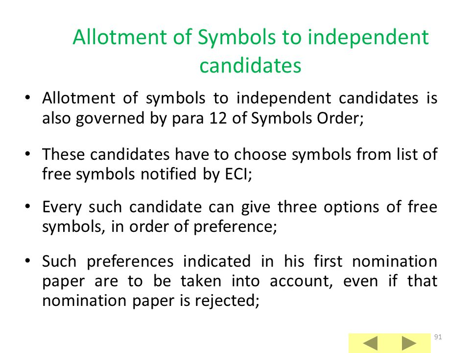 Allotment of Symbols to independent candidates