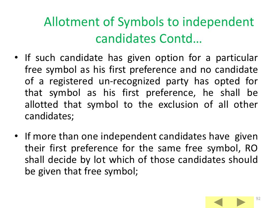 Allotment of Symbols to independent candidates Contd…