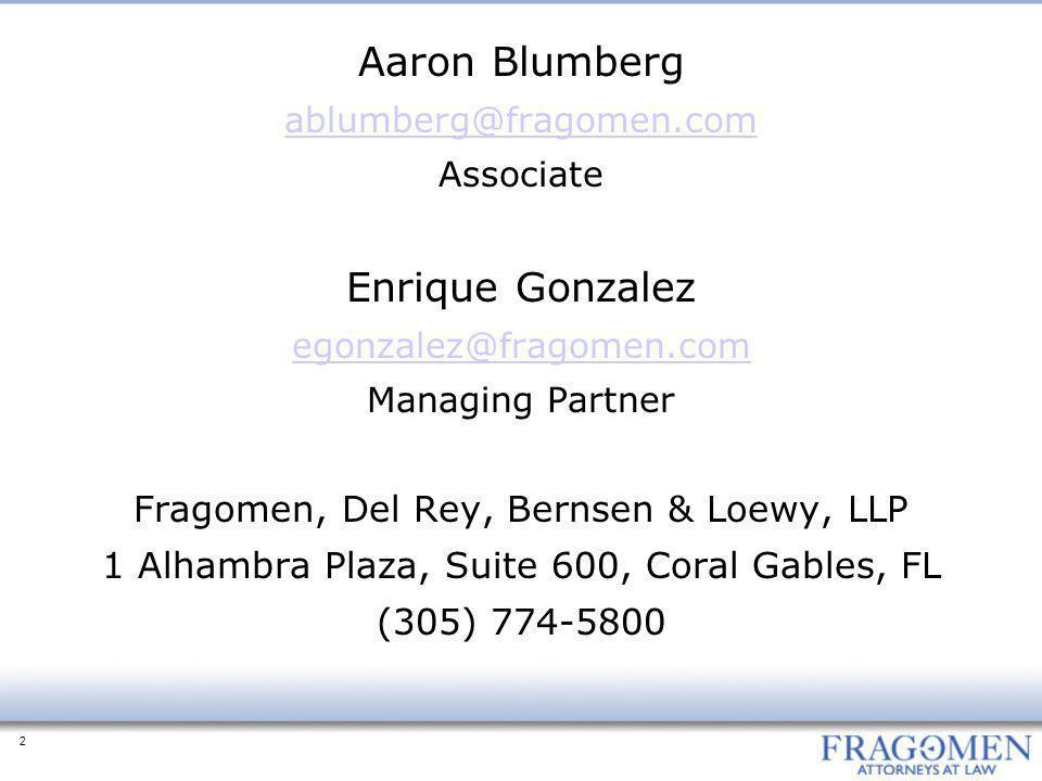 Aaron Blumberg Enrique Gonzalez