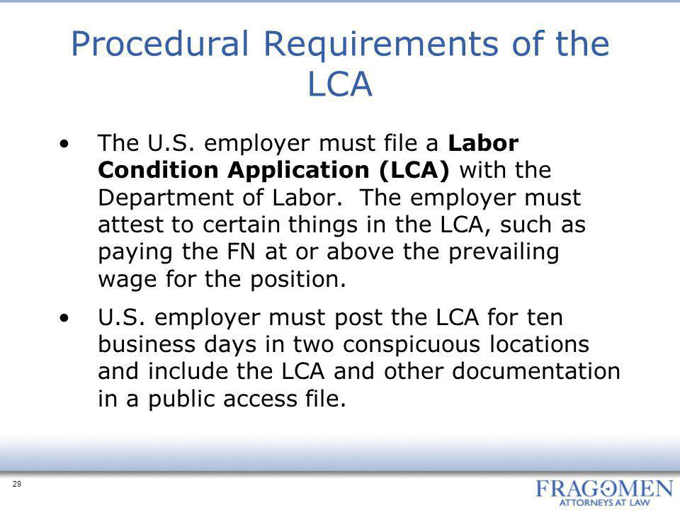 Procedural Requirements of the LCA