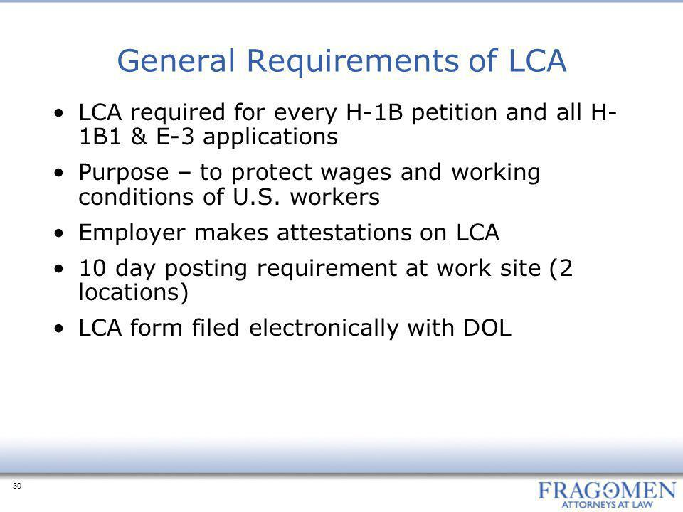 General Requirements of LCA