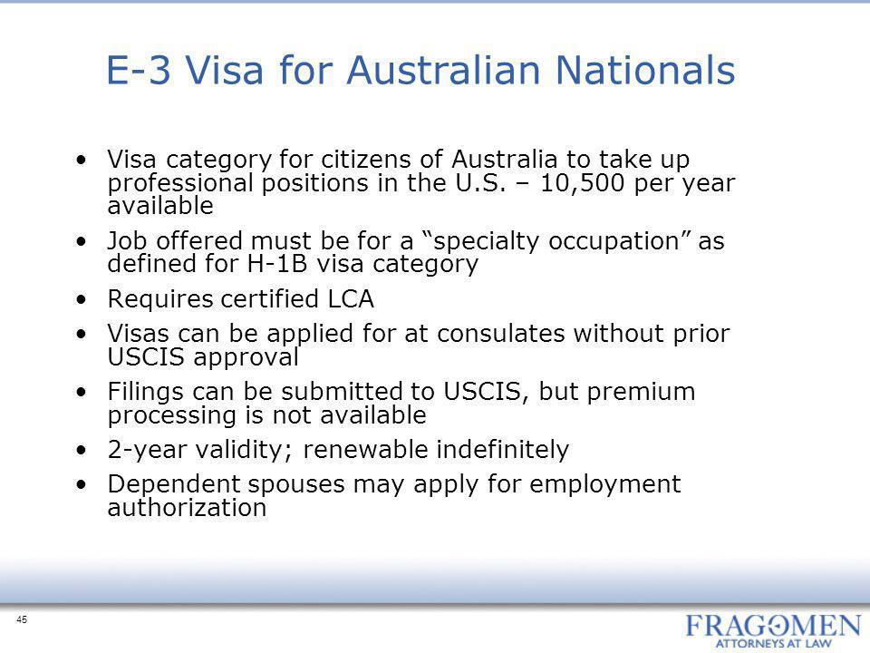 E-3 Visa for Australian Nationals