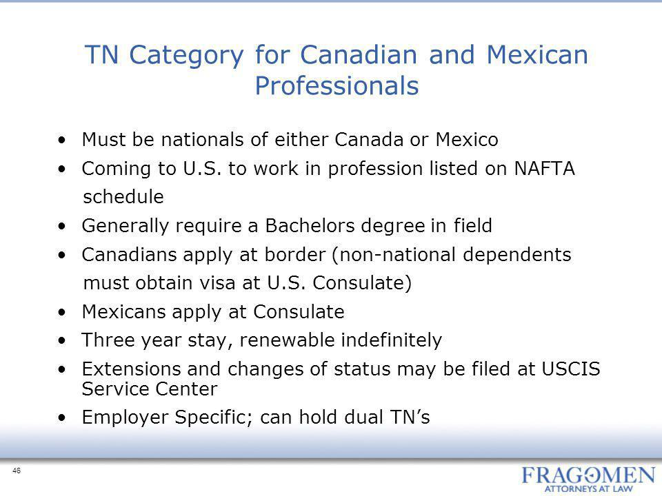 TN Category for Canadian and Mexican Professionals