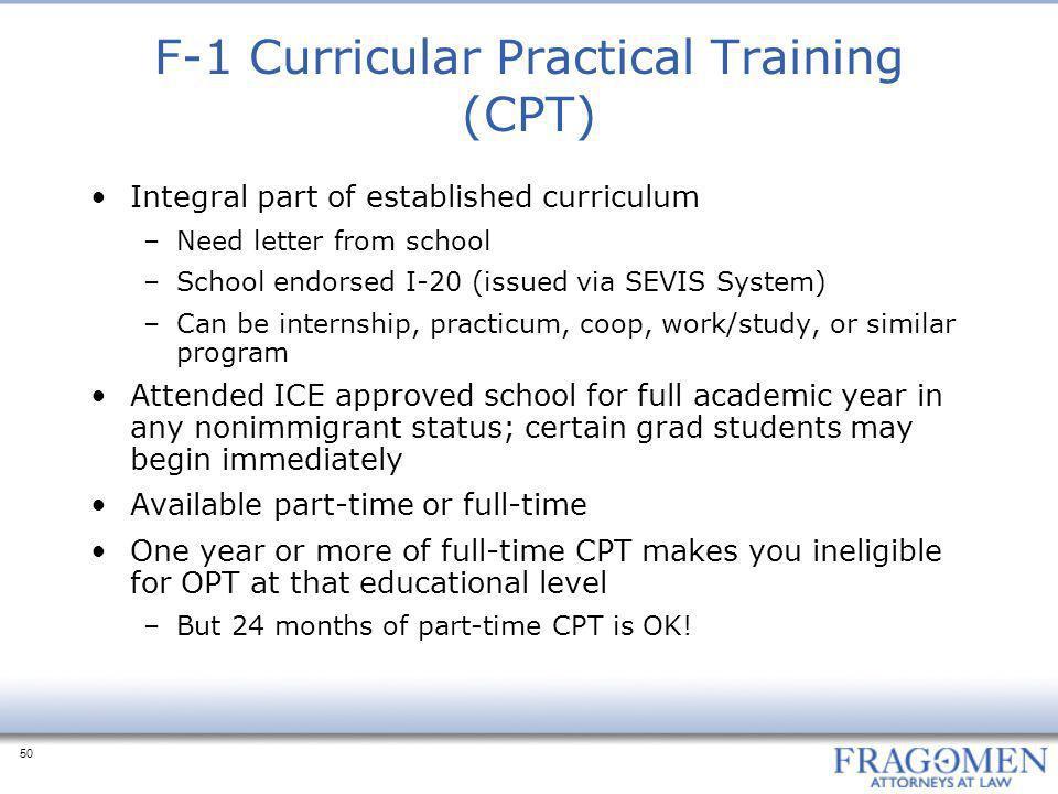 F-1 Curricular Practical Training (CPT)