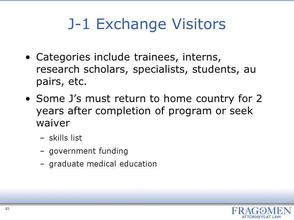 J-1 Exchange Visitors Categories include trainees, interns, research scholars, specialists, students, au pairs, etc.