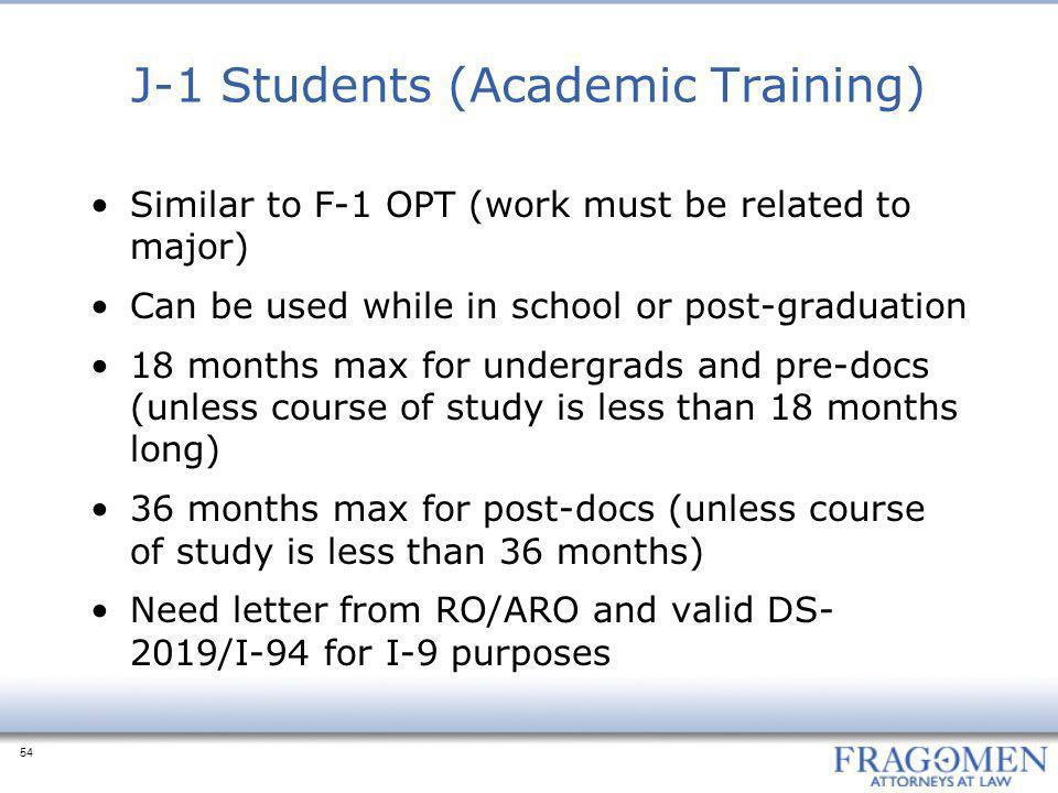 J-1 Students (Academic Training)