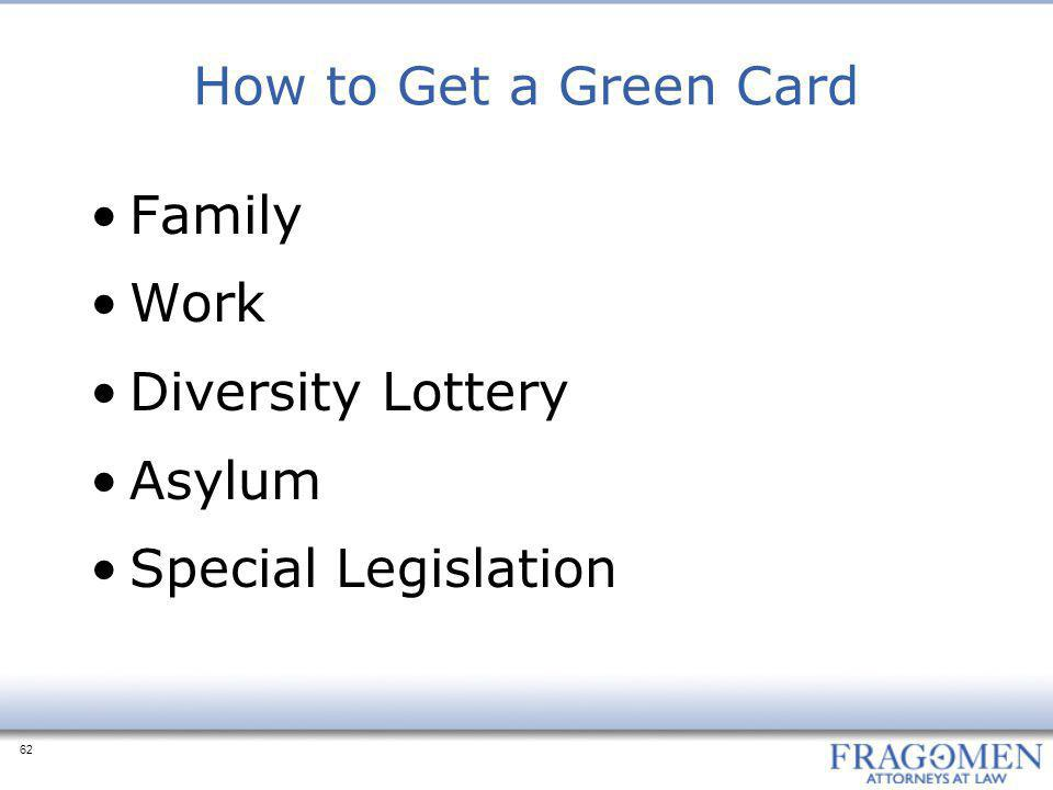 How to Get a Green Card Family Work Diversity Lottery Asylum Special Legislation