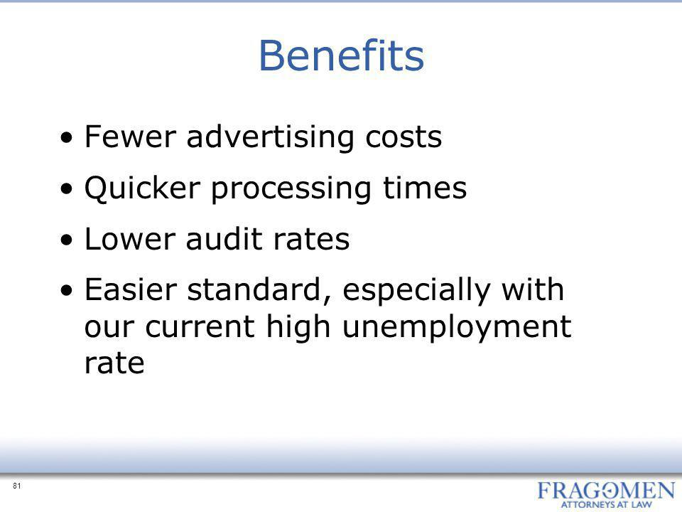 Benefits Fewer advertising costs Quicker processing times