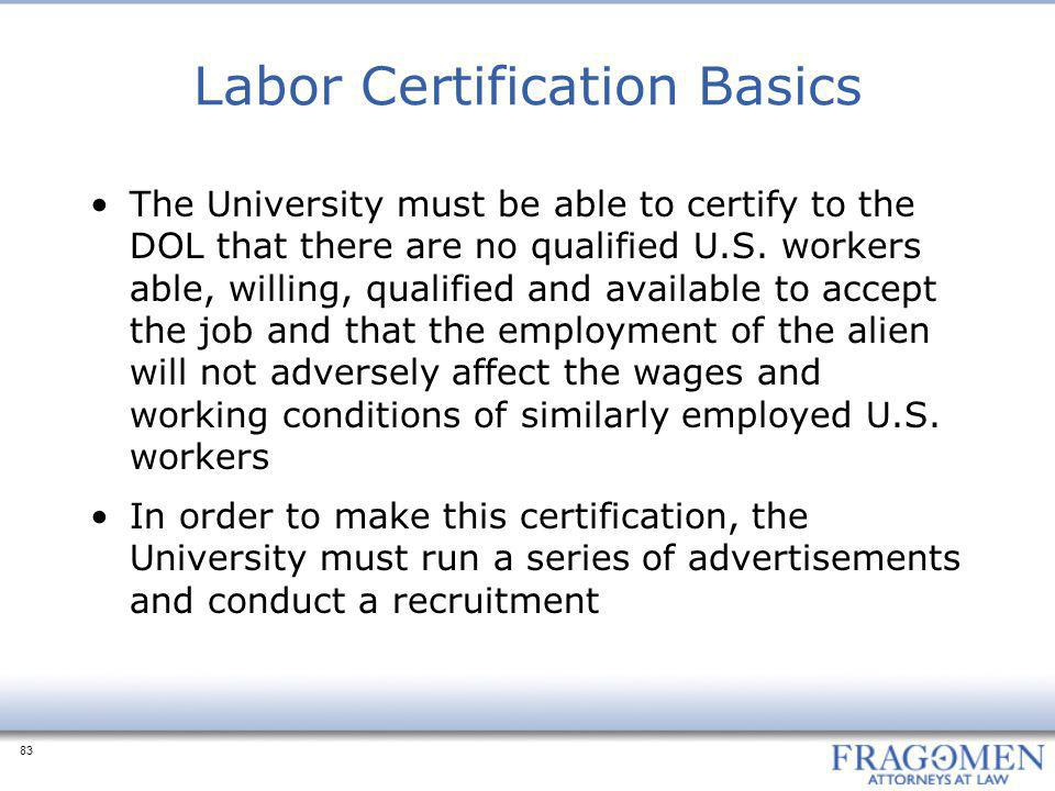 Labor Certification Basics