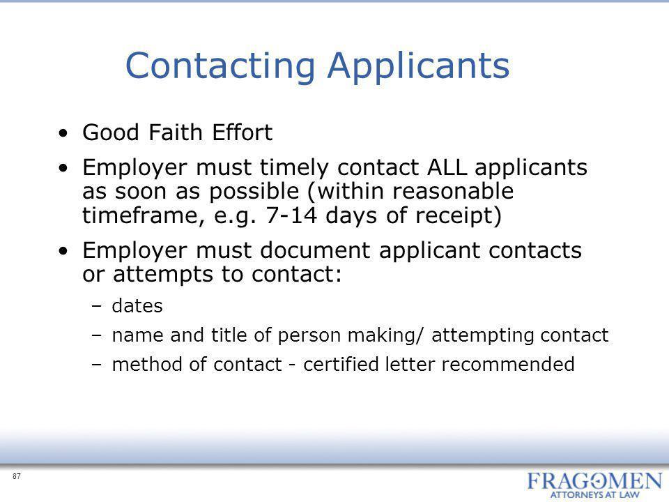 Contacting Applicants