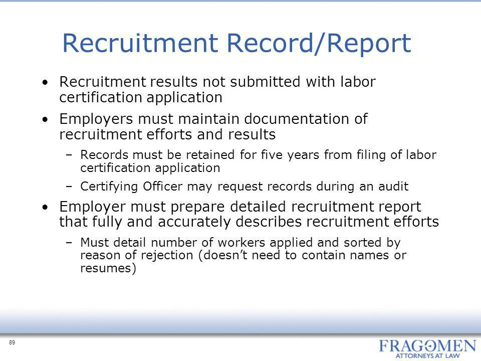 Recruitment Record/Report