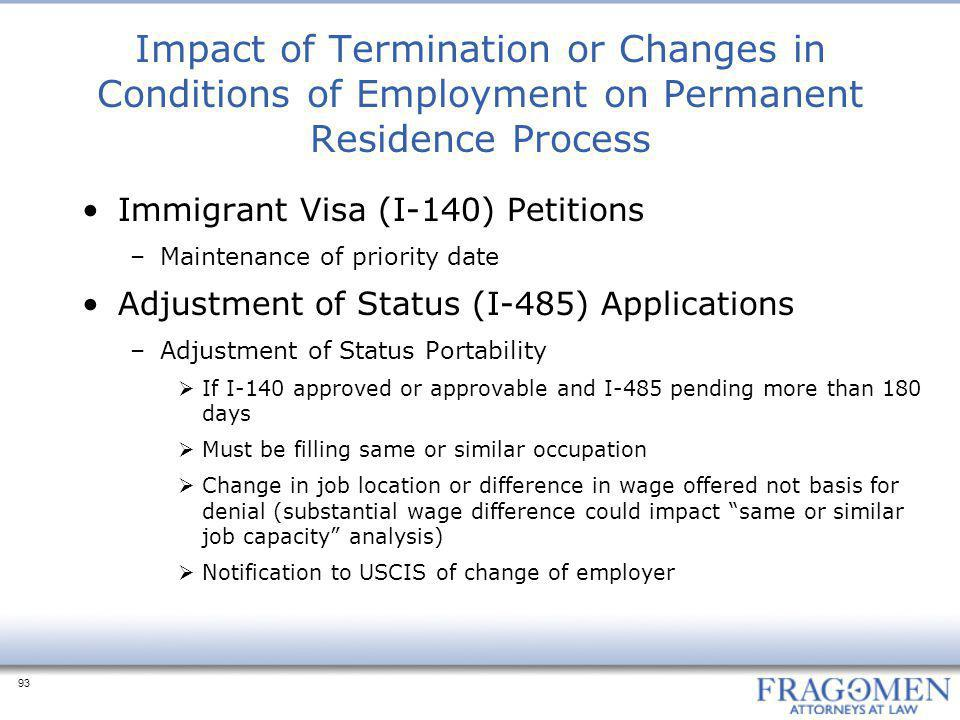 Impact of Termination or Changes in Conditions of Employment on Permanent Residence Process