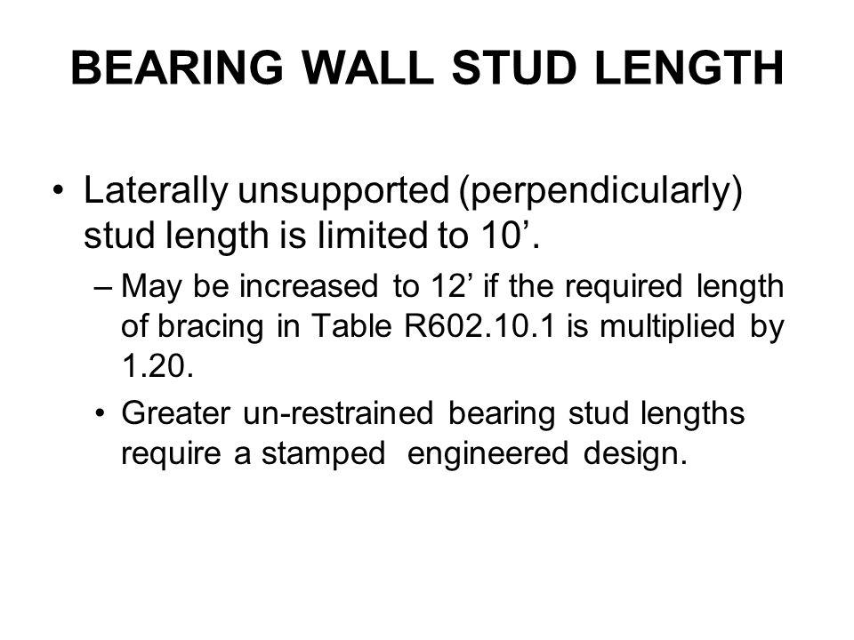 BEARING WALL STUD LENGTH