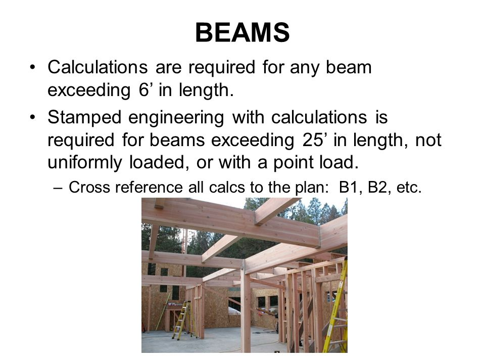 BEAMS Calculations are required for any beam exceeding 6' in length.
