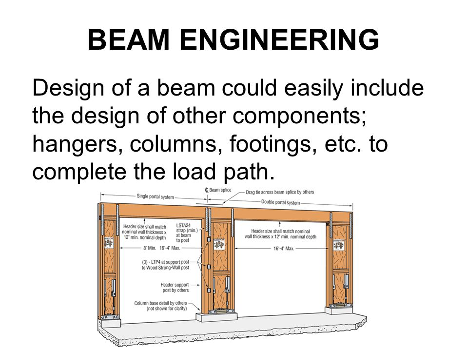 BEAM ENGINEERING Design of a beam could easily include the design of other components; hangers, columns, footings, etc.