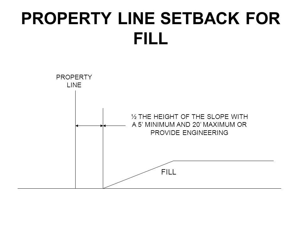 PROPERTY LINE SETBACK FOR FILL