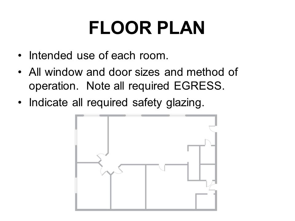 FLOOR PLAN Intended use of each room.