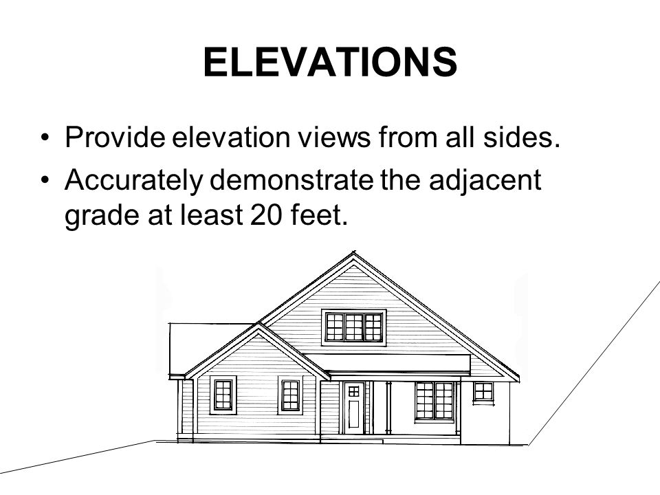 ELEVATIONS Provide elevation views from all sides.
