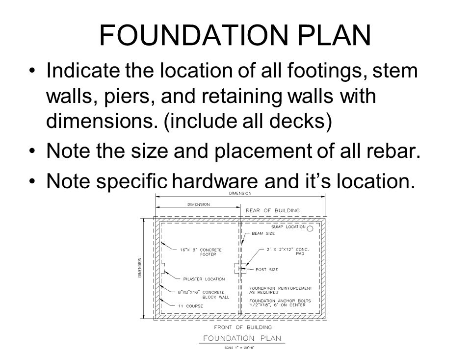FOUNDATION PLAN Indicate the location of all footings, stem walls, piers, and retaining walls with dimensions. (include all decks)