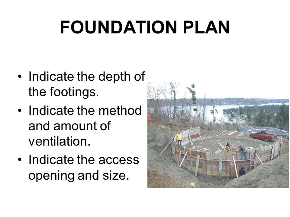 FOUNDATION PLAN Indicate the depth of the footings.