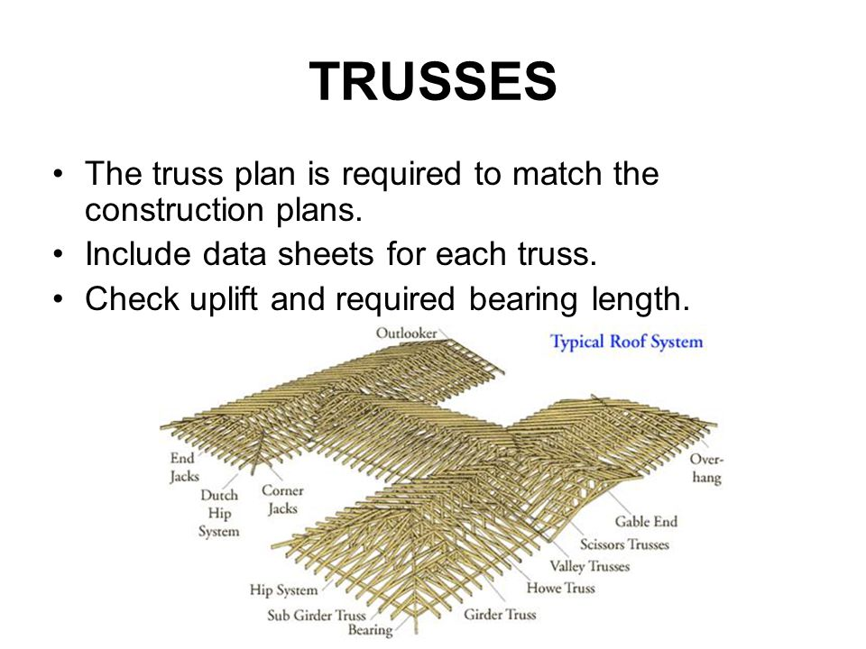 TRUSSES The truss plan is required to match the construction plans.